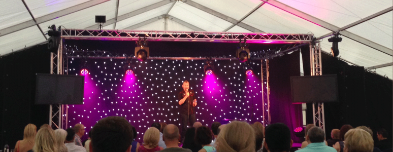 Ben Norris on stage at the Derby Comedy Festival
